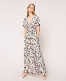 """Floral crêpe de Chine jumpsuit """"Quartz"""" Pink Flowered Print Woman 201MP2372-02"""