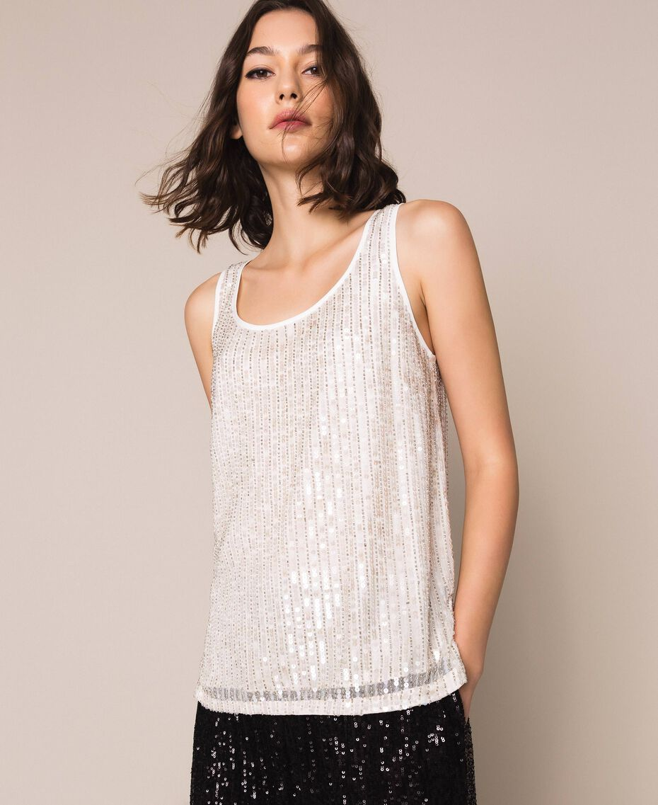 Full sequin and crystal bead top Ivory Woman 201TP2052-01