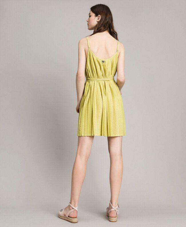 """Robe plissée en lurex Jaune """"Jus De Citron"""" Femme 191LB23FF-03"""