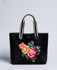Shopper aus Samt mit Stickerei Schwarz Frau AA8PLA-02