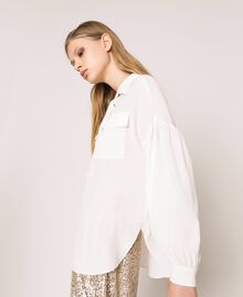 Silk blend top with braided ribbon White Snow Woman 201TP2508-06