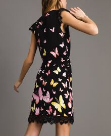 Patterned knit dress Black Butterfly Print Woman 191TT3180-03