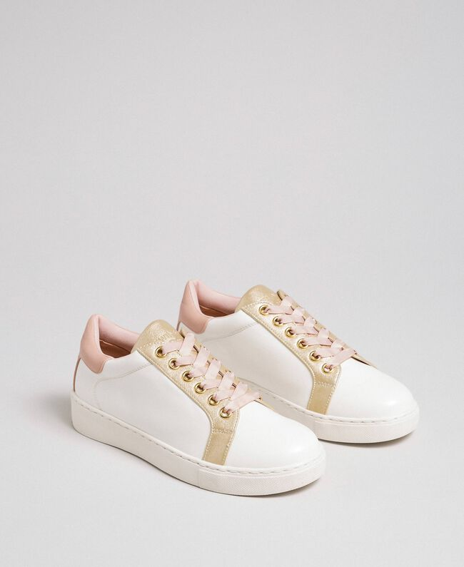 Sneakers in similpelle con lacci in raso Avorio Donna 192LIPZCC-01