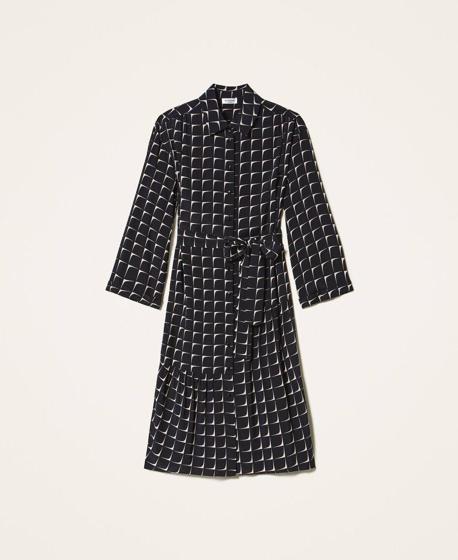 "Printed crêpe de Chine shirt dress Black /""Nude"" Beige Optical Print Woman 202ST2501-0S"