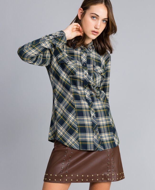 "Check flannel shirt Bicolour Blue / ""Golden Yellow"" Plaid Flannel Woman YA82ED-04"