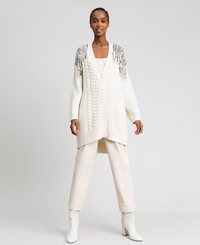 Maxi cardigan with sequins and fringes White Snow Woman 192TT3230-04
