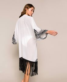 Georgette dress with embroideries and fringes Ivory Woman 201LB25AA-03