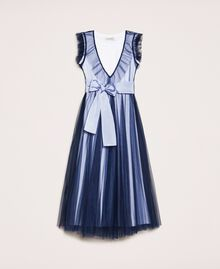 """Full-length tulle gown with ruffle Two-tone Night Blue / """"Papers"""" White Child 201GJ2Q50-0S"""