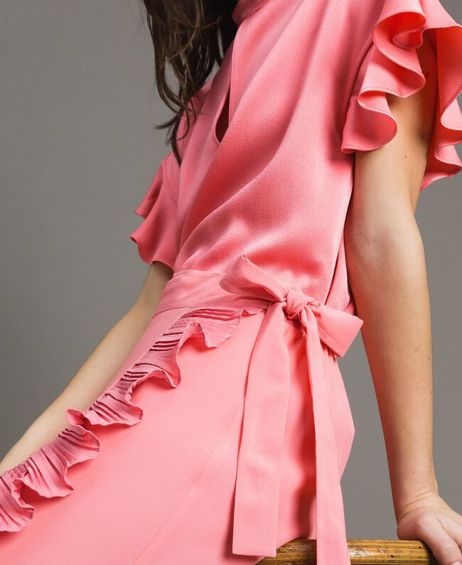 """Jupe longue plissée en soie mélangée Rose """"Églantine"""" Femme 191TP2146-05"""