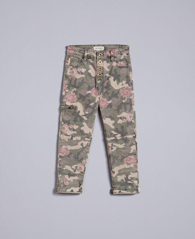 Pantaloni cargo in canvas stampato Stampa Camouflage Bambina GA82EB-01