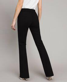 Pantalon évasé au point de Milan Noir Femme 191TP2423-03