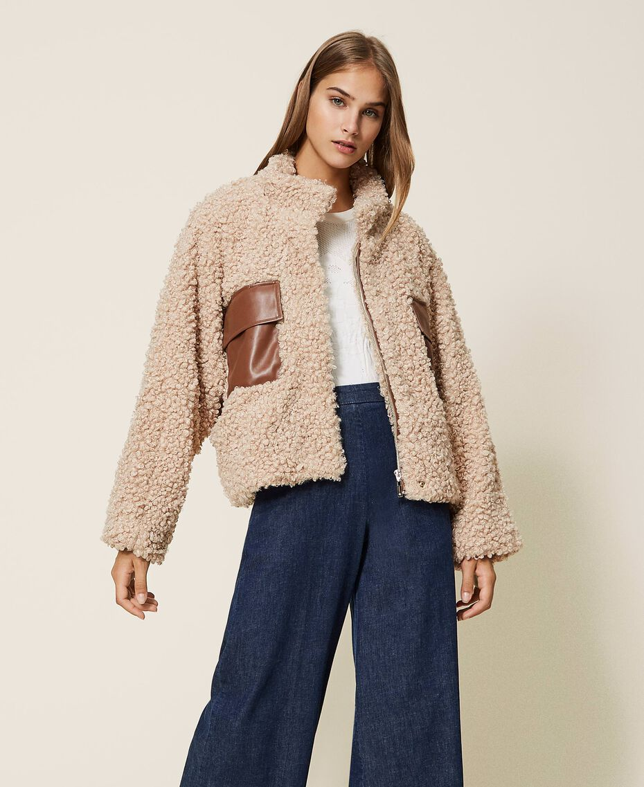 Короткое пальто из искусственной овчины Розовый Cloud Pink женщина 202LI2BAA-01