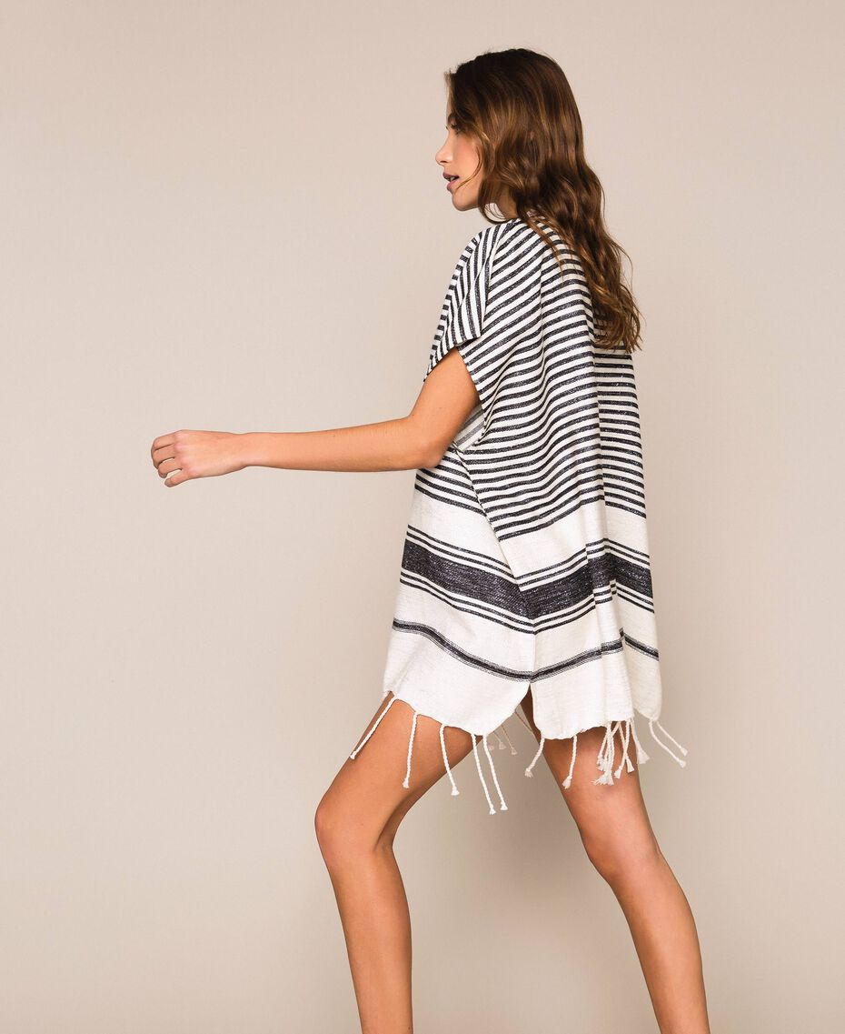 Jacquard poncho with stripes and fringes Ivory / Black Woman 201LM4ZCC-02