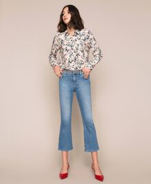 Flared jeans with studs Denim Blue Woman 201MP226A-03