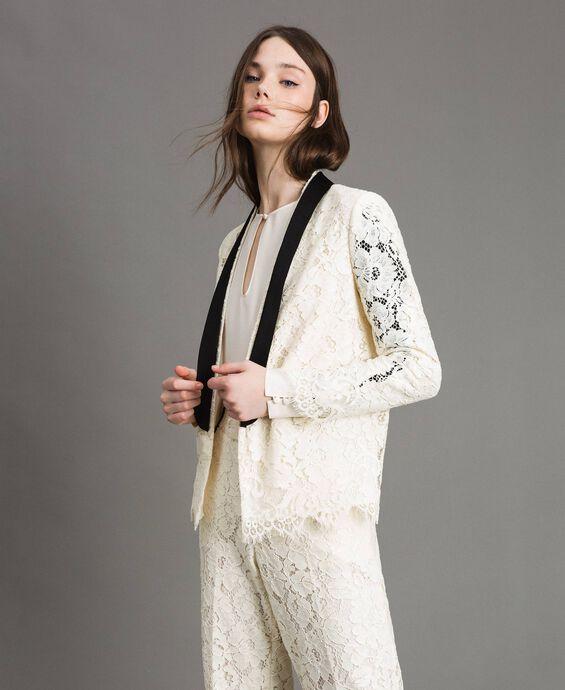 Macramé lace tuxedo jacket