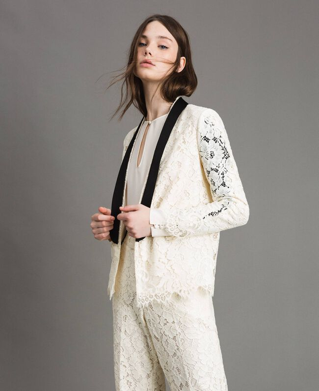 Macramé lace tuxedo jacket White Snow Woman 191TP2254-01