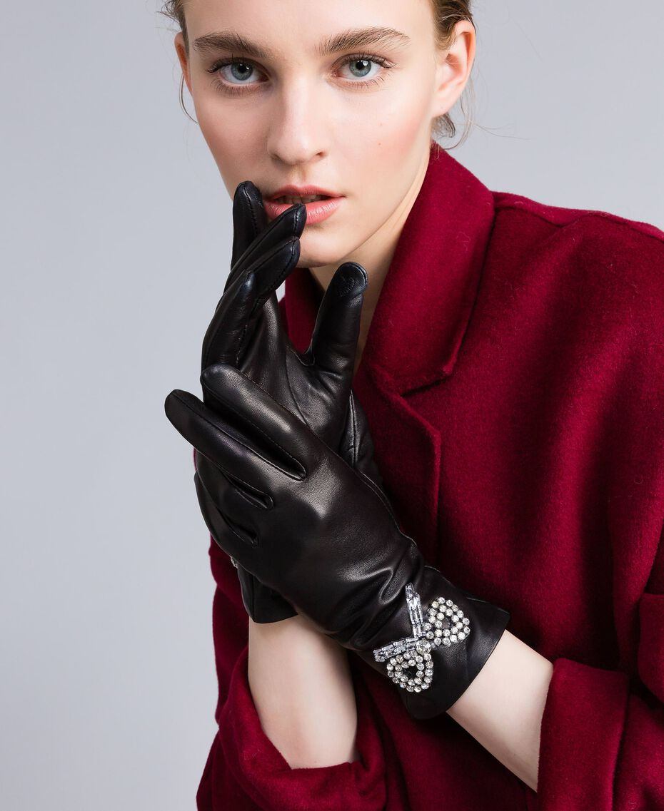 Gants en cuir Noir Femme AA8P3A-0S