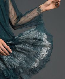 Robe en dentelle de Chantilly avec bas plissé Vert Forêt / Blanc Crème Femme 192ST2110-04