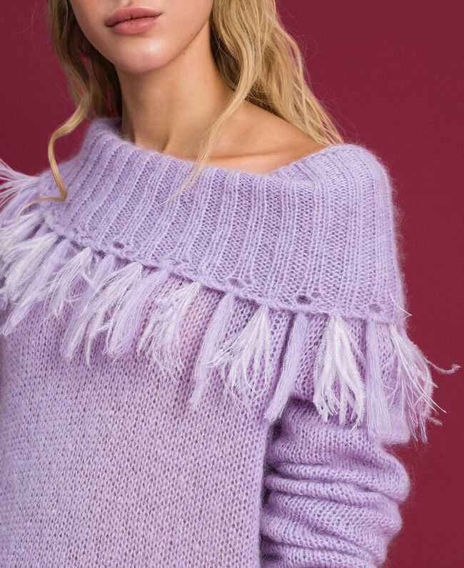 "Mohair jumper with feathers and fringes ""Pink Lavender"" Woman 192TT3276-01"
