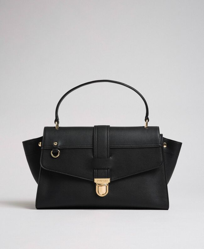 Faux leather satchel bag with flap Black Woman 192TA7130-03