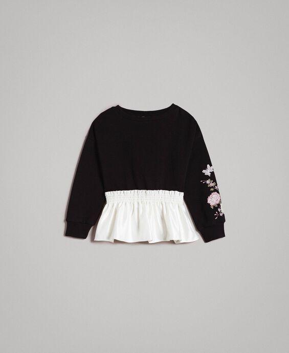Cotton sweatshirt with satin flounce