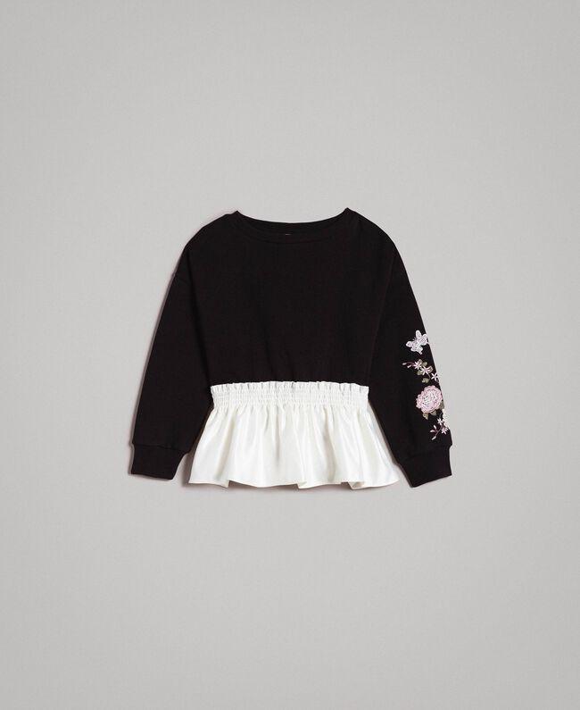 Baumwoll-Pullover mit Satin-Volant Zweifarbig Schwarz / Off White Kind 191GJ2401-01
