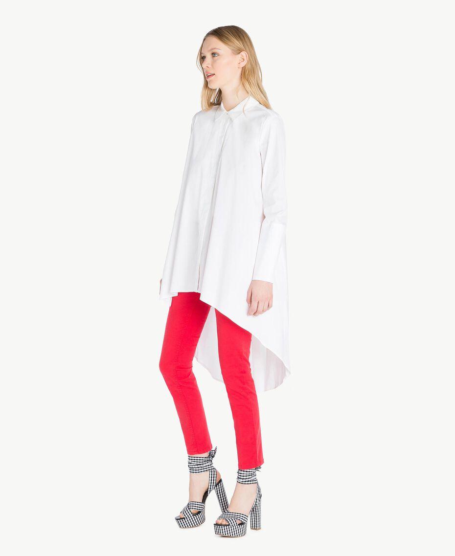 Maxi chemise asymétrique Blanc Femme JS82DL-02
