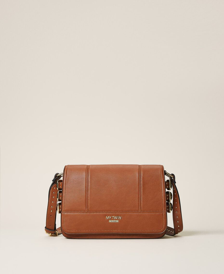 Shoulder bag with straps Leather Brown Woman 202MA7043-03