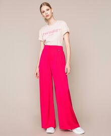 Flowing satin palazzo trousers Wild Rose Woman 201MT2032-01