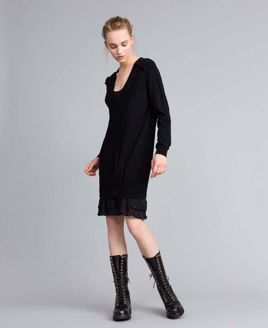 Wool and cashmere dress with slip Black Woman PA83AP-01