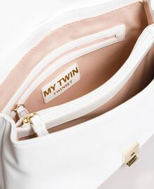 Faux leather shoulder bag with patch White Cream Woman 191MA7071-05