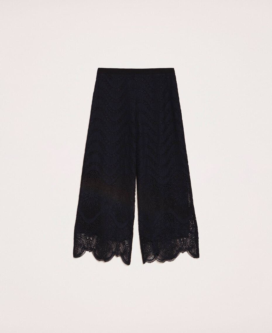 Macramé lace trousers Black Woman 201TP2033-0S