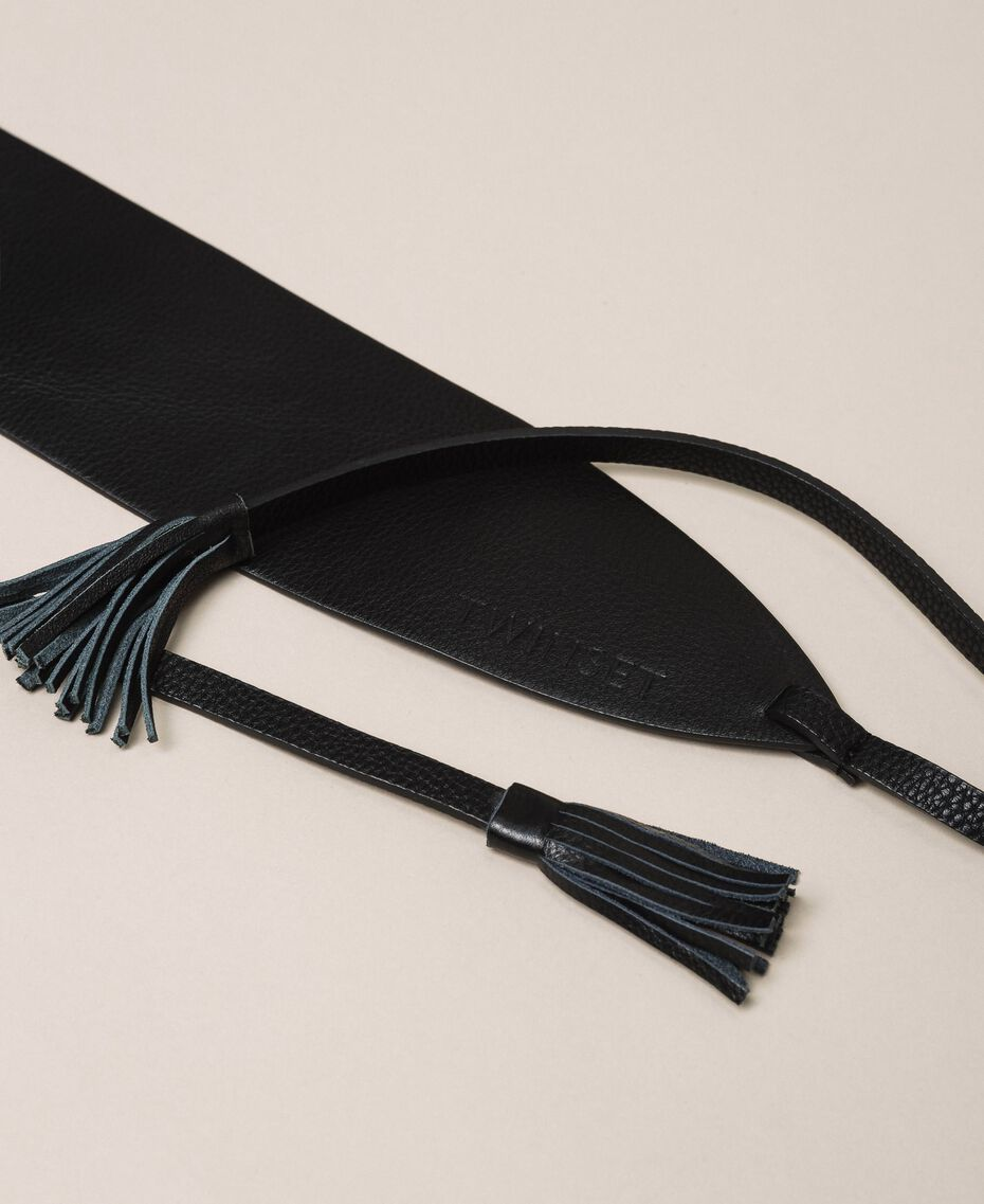 Leather belt with tassels Leather Brown Woman 999TA4320-02