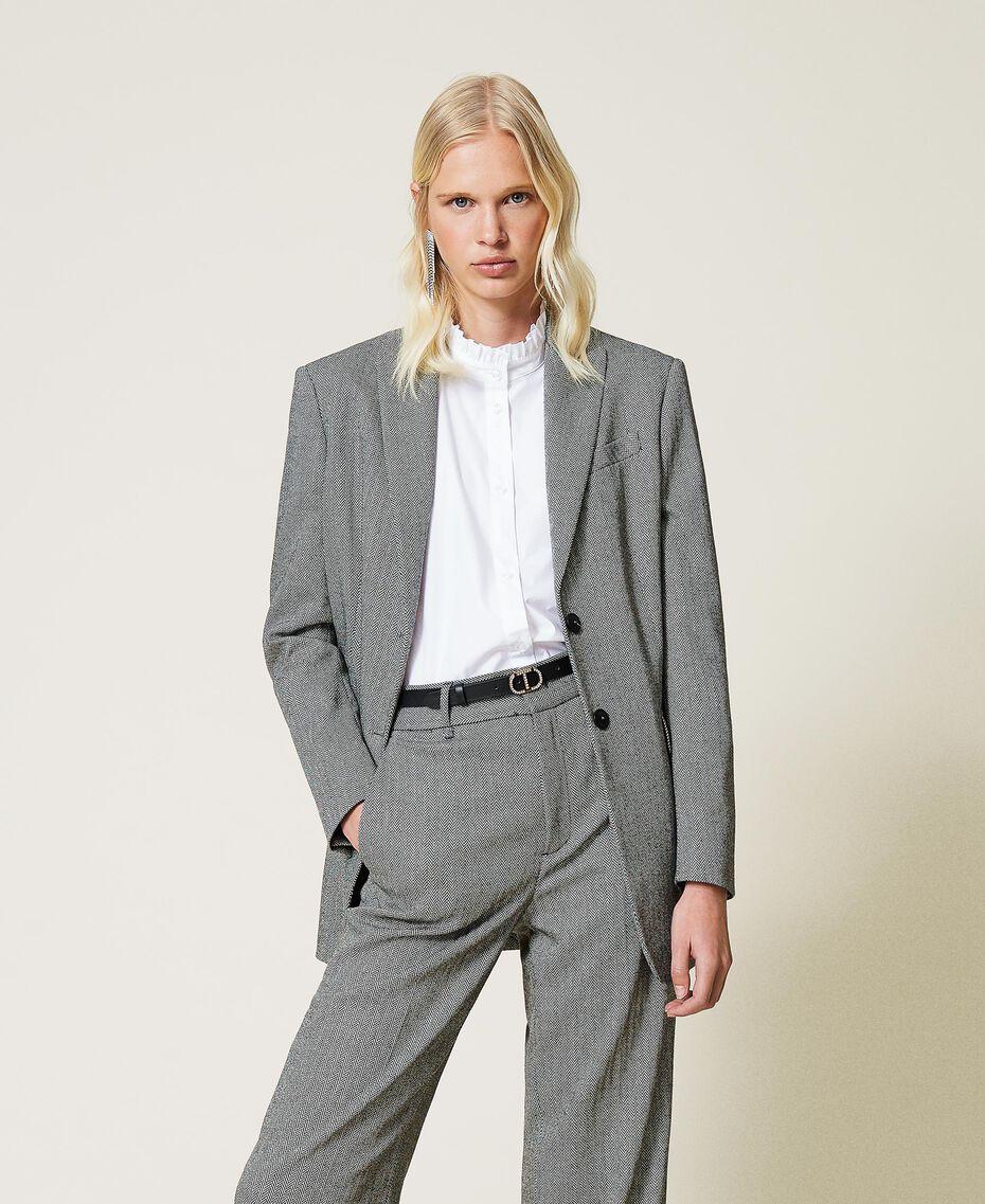 """Wool blend blazer with chevron pattern Black / """"Snow"""" White Chevron Woman 212TP2550-01"""