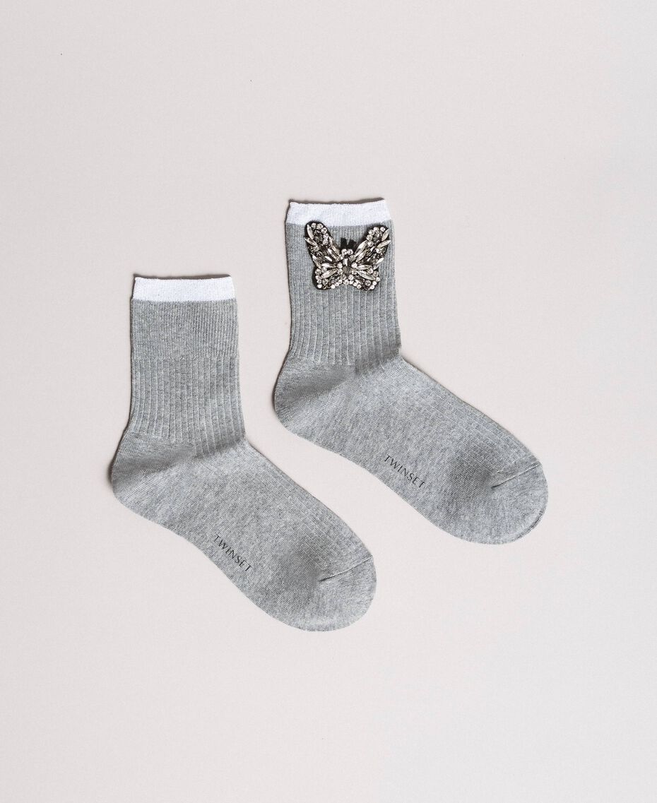 Mixed cotton socks with jewelry butterfly Melange Grey Woman 191TA4344-01