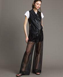 Pantalon palazzo en organza Noir Femme 191MT2132-01
