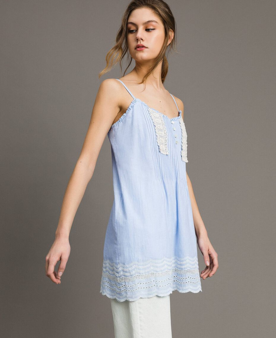 "Voile top with broderie anglaise embroidery Two-tone ""Atmosphere"" Light Blue / Ecru Woman 191ST2110-02"