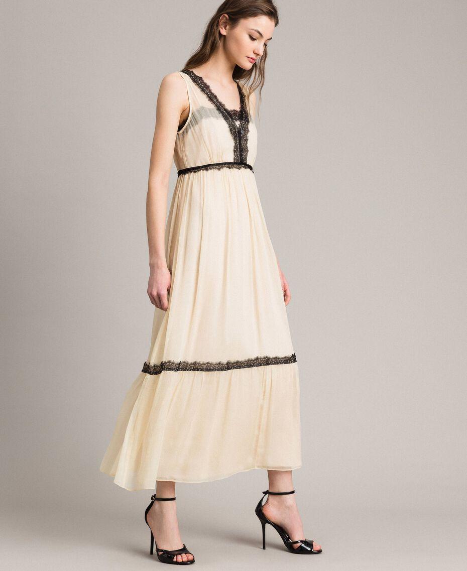 Robe longue en crépon ornée de dentelle Écru Femme 191ST2204-02