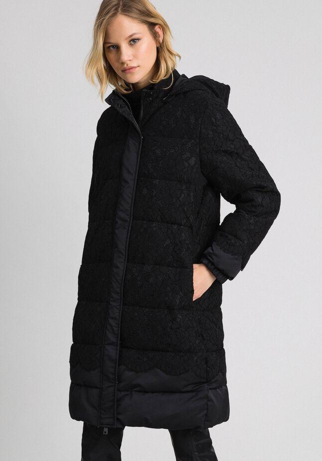Macramè lace puffer jacket