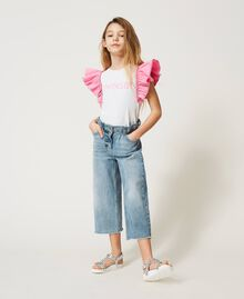 """T-shirt with taffeta sleeves Two-tone """"Off White"""" / """"Rose Bloom"""" Pink Child 211GJ207H-02"""