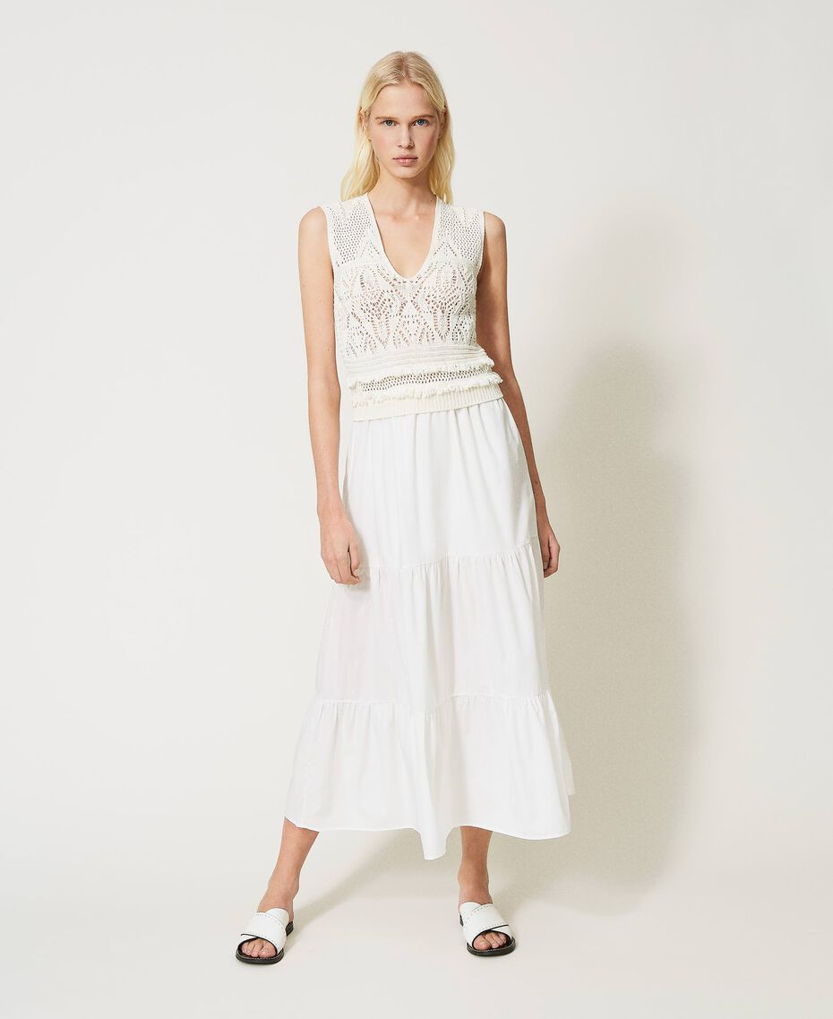 Long crochet and muslin dress White Snow Woman 211TT3112-01