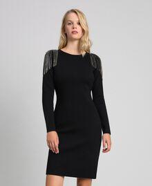 Sheath dress with rhinestone chains Black Woman 192TT3076-02