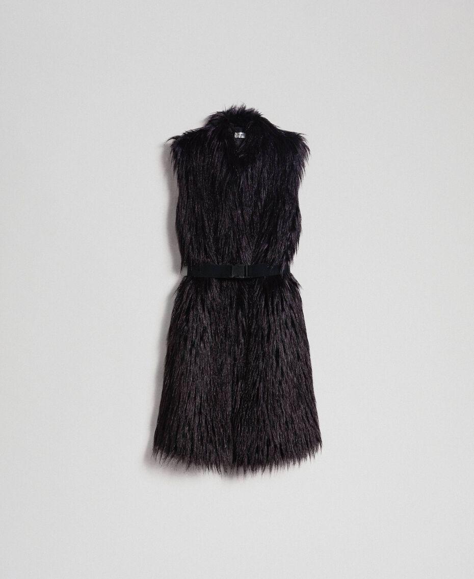 Gilet long en fausse fourrure et drap Noir / Beige «Séquoia» Femme 192ST2031-0S