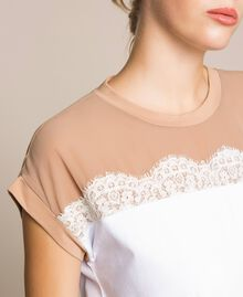 Two-tone long dress with lace Two-tone Optical White / Light Brown Woman 201ST2167-04