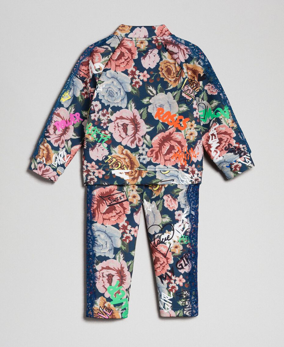 Scuba jumpsuit with floral and graffiti print Graffiti Print Child 192GB2493-0S