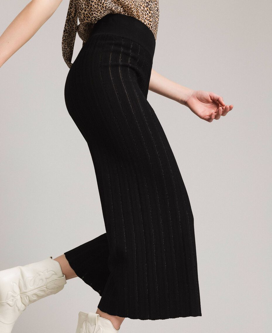 Pantalon cropped en maille orné de bandes en lurex Noir Femme 191TP3251-02