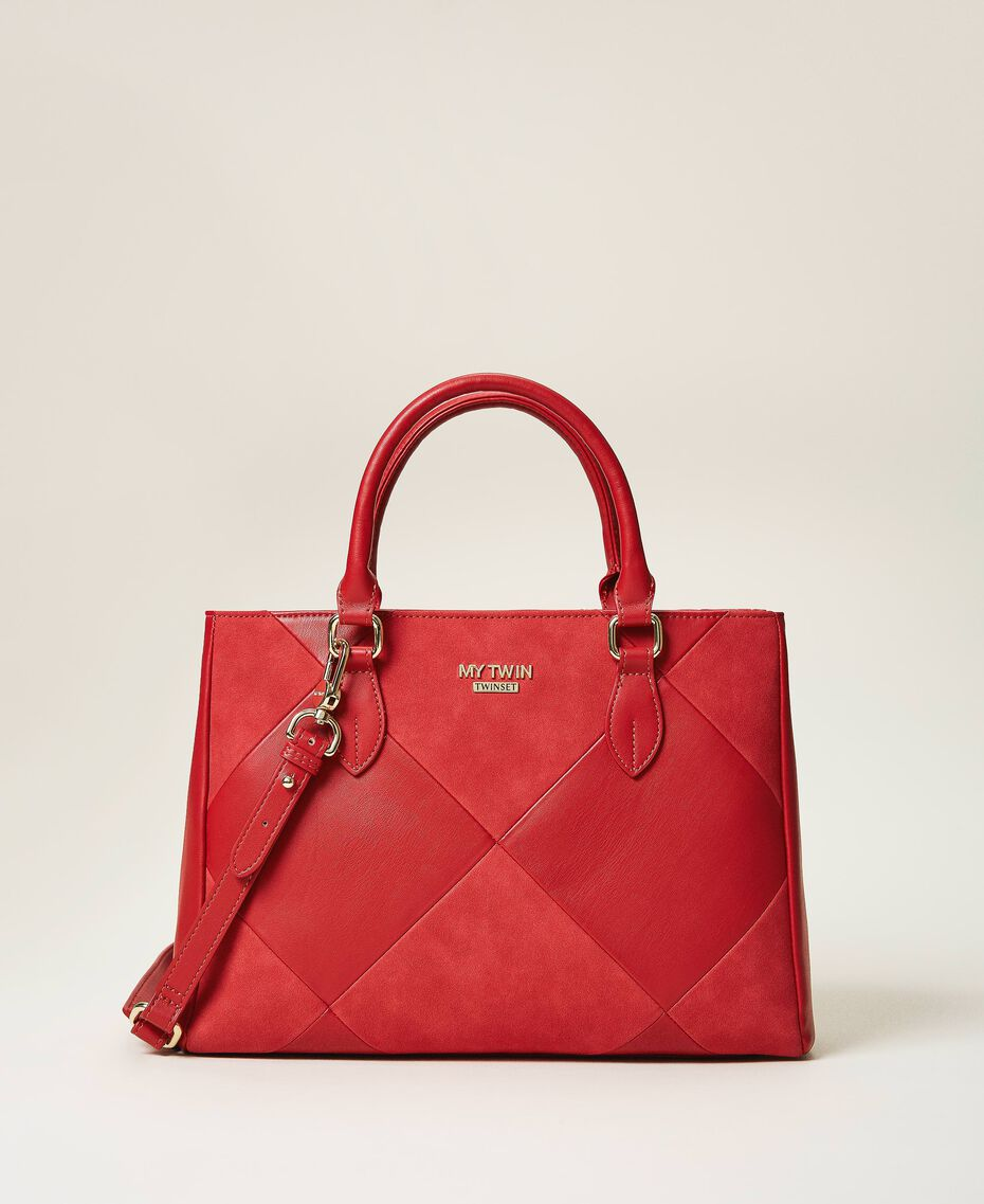 Faux leather shopping bag Cherry Red Woman 202MA7020-02