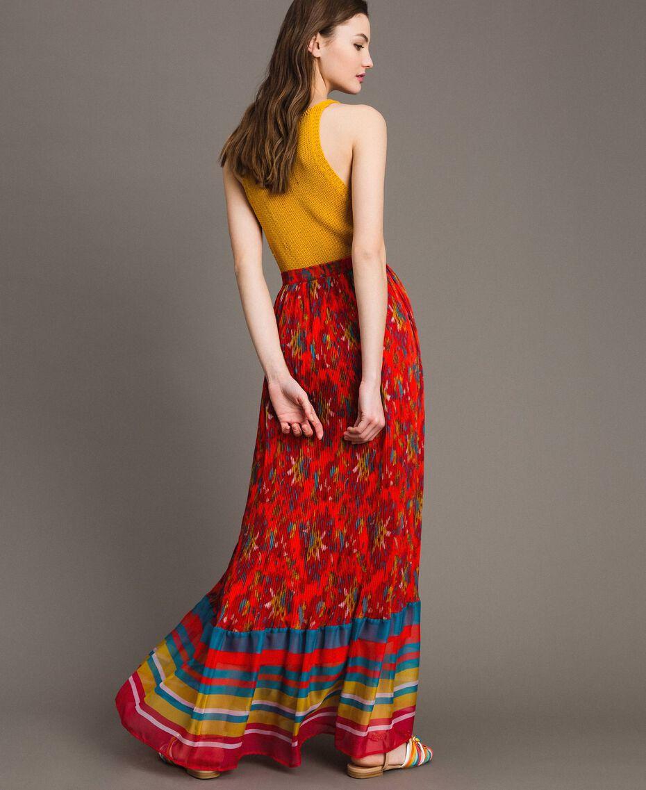 Floral print chiffon long skirt Multicolour Chiné / Grenadine Striping Woman 191TT2362-02