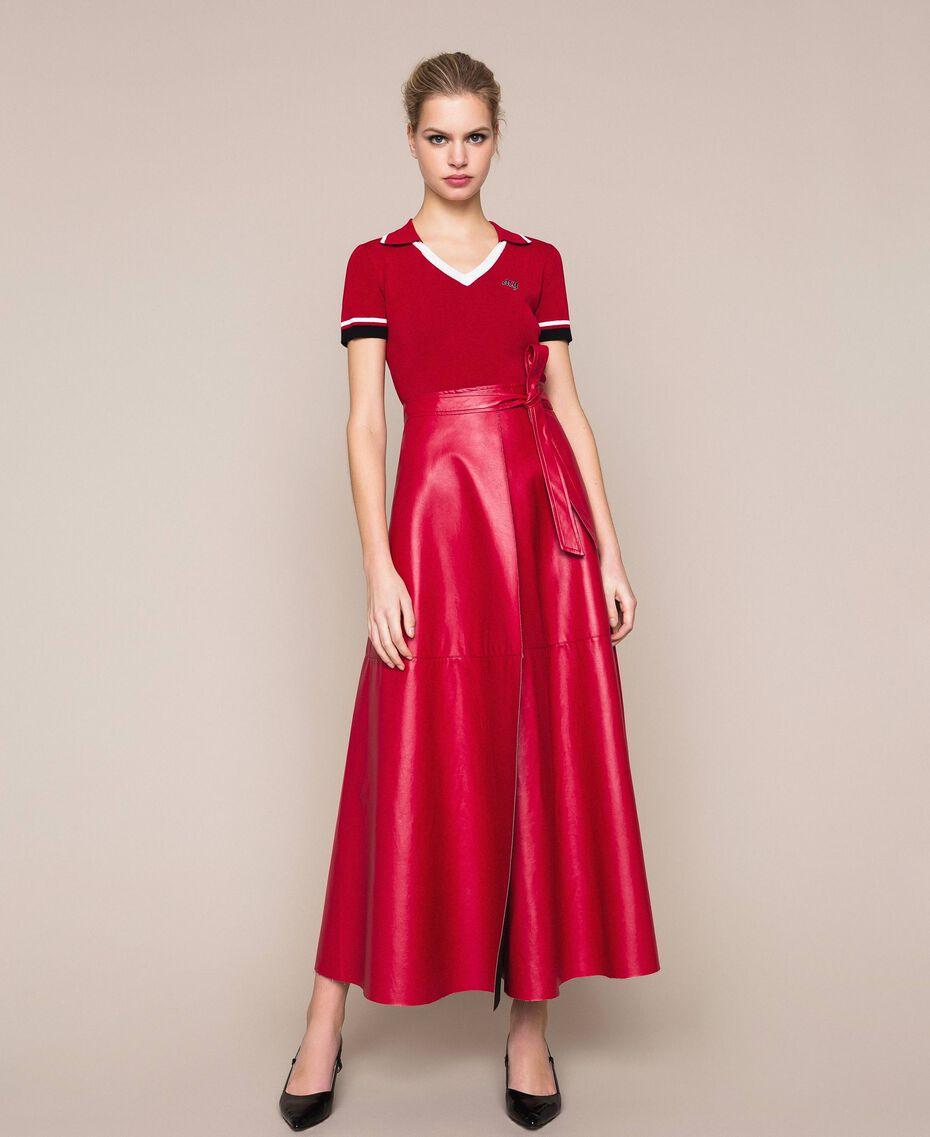 Long overlapping skirt Venetian Red Woman 201MP2042-01