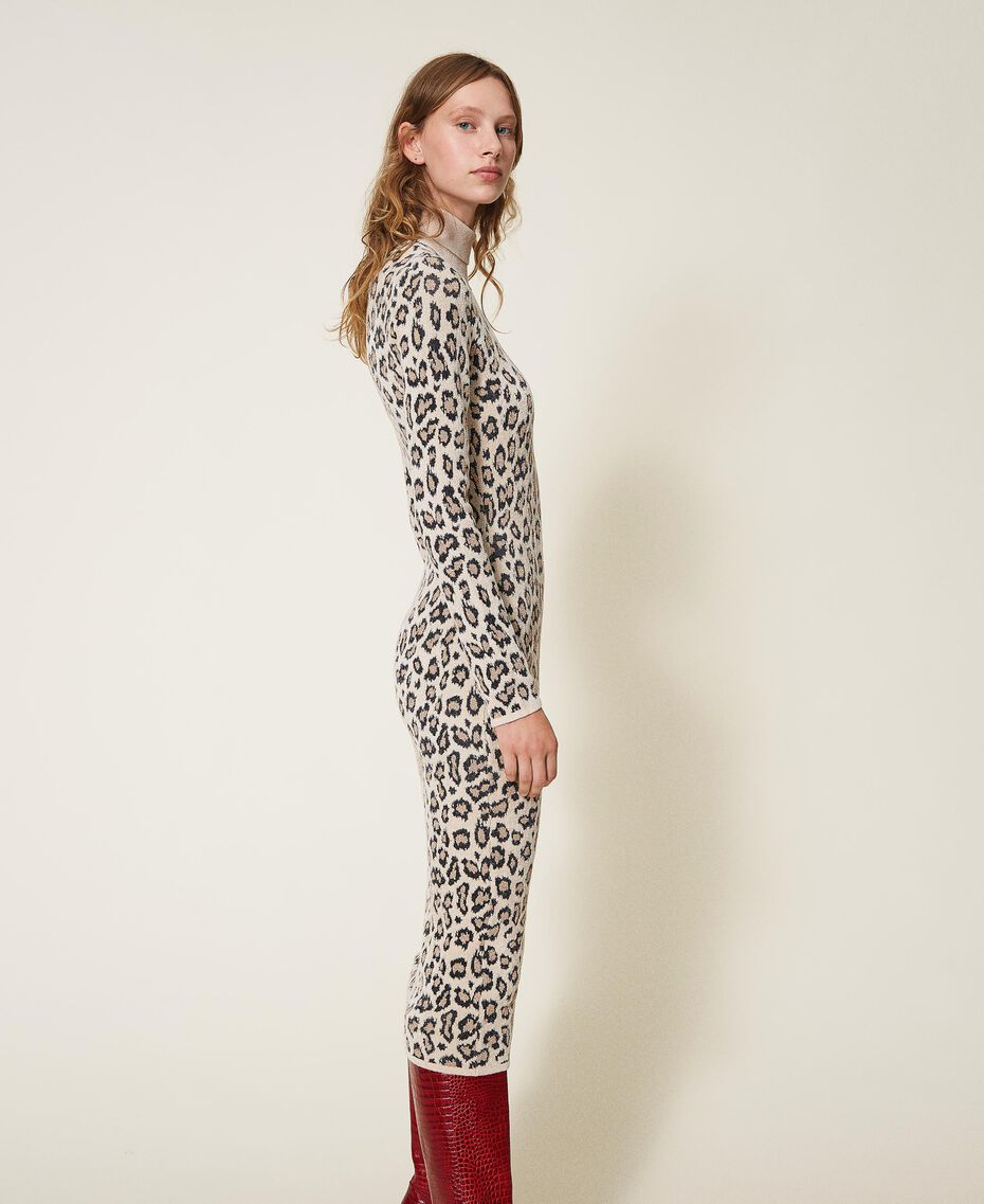 Animal print jacquard sheath dress Animal Jacquard Woman 202TT3160-02
